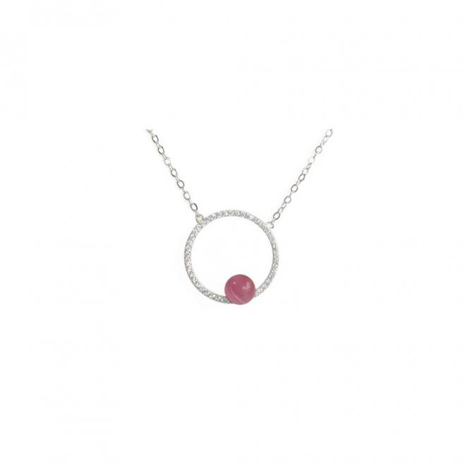 【FALAIYA x LA BELLE VIE】Necklace round circle with pink stone necklace_XH3007ocp