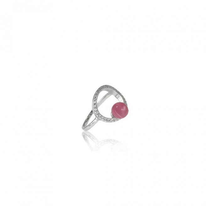 【FALAIYA x LA BELLE VIE】Ring round shaped with pink stone ring_H3007ocp