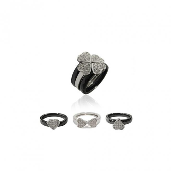 【FALAIYA x LA BELLE VIE】Rings 3 in 1 luckyheart with black ceramic and white oxyde_JF1428cen